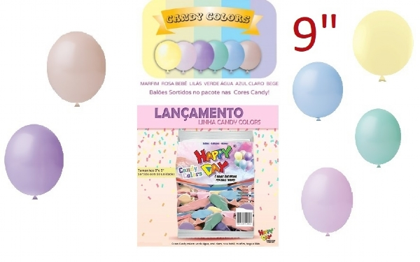 BALÃO 9 CANDY COLORS SORTIDO HAPPY DAY LISO 50 UN