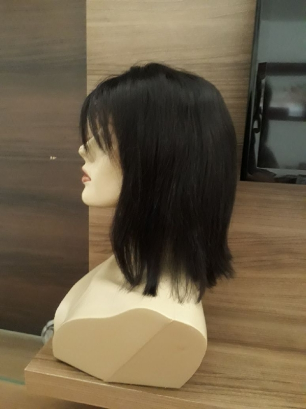 Peruca front lace, franja lateral, 25cm, 100% cabelo humano