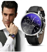 2015 New Luxury Fashion Faux Leather Mens Blue Ray Glass Quartz Analog wristwatch Watches Hot selling