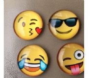 Mixed 5 Pcs Cartoon emoji Glass Cabochon Magnetic Stickers Cute Emoji Pattern Dome Glass Fridge Magnet