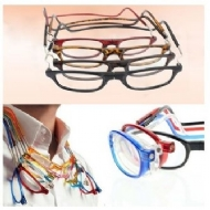 Fashion Unisex Magnetic Folding frame Reading Glasses Women Men Hanging Neck Antifatigue Resin Eyeglasses +1.0-+4.0 / Óculos em filme de resina azul óculos de leitura + 1,0 1,5 2,0 2,5 3,0 3,5 4,0 dio