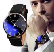 W@M Luxury Fashion Faux Leather Mens Quartz Analog Watch Watches Black