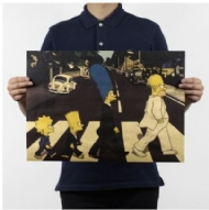 Simpsons Spoof The Beatles Cross Road Kraft Paper Poster Retro Classic Vintage Craft Greeting Card 42*30cm
