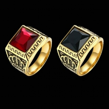 Antique Royal Golden Square Crystal Elegant Ring for Men Fashion 316L Stainless Steel Male Finger Ring Jewelrys / 316L Stainless Steel Antique Royal Golden Square Crystal Elegant Ring