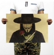 Stickers Home Decoration Wall Decals Vintage Posters V for Vendetta for Old Movie Retro Kraft Paper Painting Core 51x35.5cm