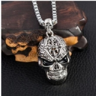 Smile Skull Stainless Steel Pendant Necklace Swearter Chain 22