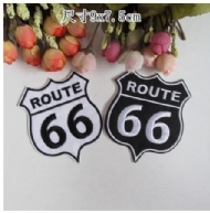 2PCS DIY Embroidery Route 66 Patch Fabric Clothes Badge Sew Iron on Applique