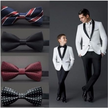 Casual 10 Colors Men Wedding Polyester Silk Bowknot Spots Striped Suits Tie Neckwear Bowtie
