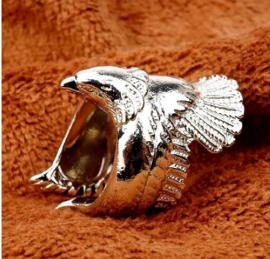 925 Sterling Silver Jewelry, Pink Retro Eagle, Open Wings, Eagle Ring