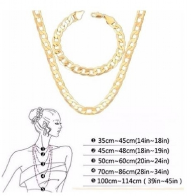 18K Gold 4MM 16-30inch Unisex Party Classic Long Simple Snake Chain Link Chain Jewerly Figaro Necklace Bracelet Set