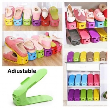 Adjustable Display Rack Shoes Organizer Space-Saving Plastic Rack Storage Multi-color New