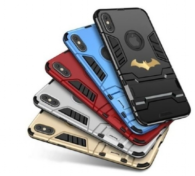 Fashion Batman Printing Sticker Iron Man Hard Armor Shockproof Dustproof Protective + Soft Silicon Phone Case with Stand for Samsung Galaxy S8/S8 Plus S7/S6 Edge,Note 8/5,J7/J5/J3 ,A7/A5/A3,For IPhone
