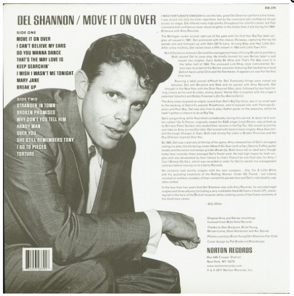 DISCO DE VINIL NOVO - DEL SHANNON - MOVE IT ON OVER LP 180 G IMG-1139494