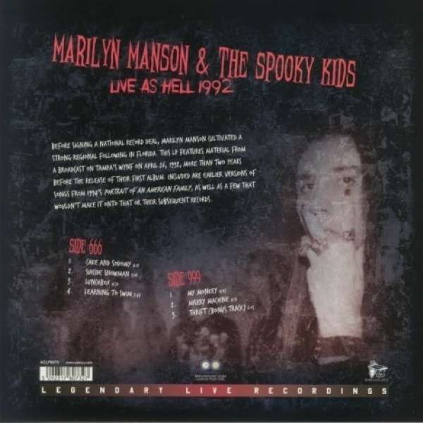 DISCO DE VINIL NOVO - MARILYN MANSON & THE SPOOKY KIDS - LIVE AS HELL 1992 LP VINIL COLORIDO
