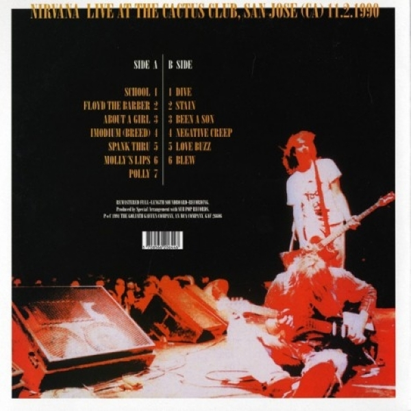 DISCO DE VINIL NOVO - NIRVANA - LIVE AT THE CACTUS CLUB 1990 LP