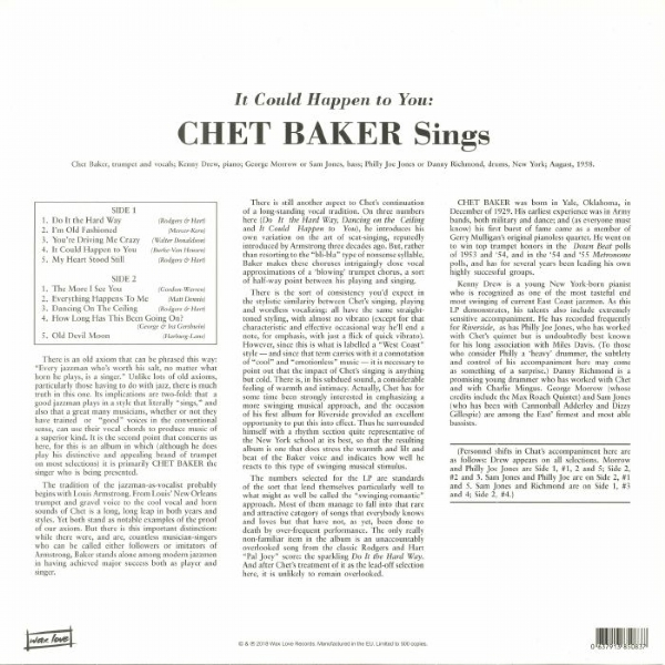 DISCO DE VINIL NOVO - CHET BAKER - IT COULD HAPPEN TO YOU LP 180 G