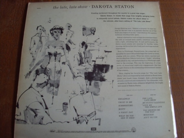 DISCO DE VINIL USADO - DAKOTA STATON - THE LATE, LATE SHOW LP IMG-1230745