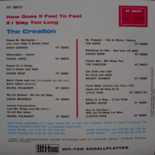 SINGLE DE VINIL NOVO - THE CREATION - HOW DOES IT FEEL TO FEEL / IF I STAY TOO LONG