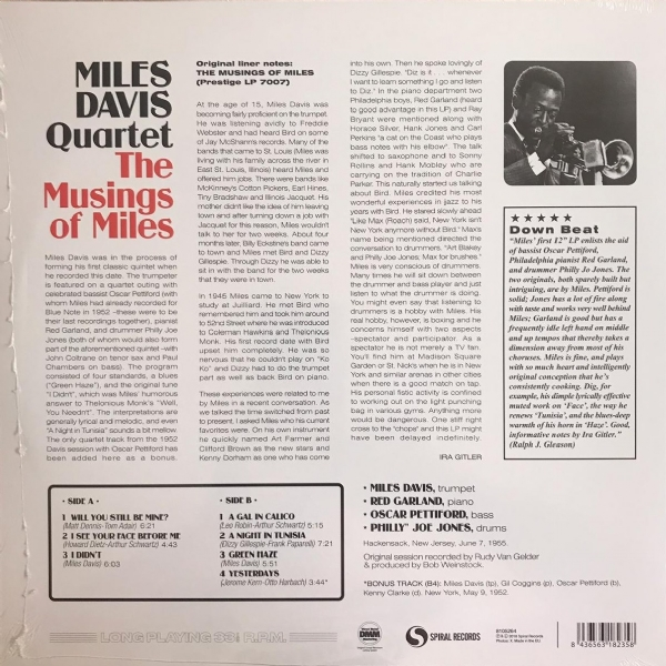 DISCO DE VINIL NOVO - MILES DAVIS QUARTET - THE MUSLINGS OF MILES LP 180 G IMG-1355252