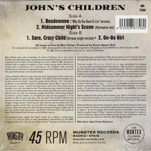 SINGLE DE VINIL NOVO - JOHN´S CHILDREN - DESDEMONA EP IMG-1381638