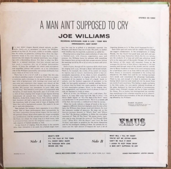 DISCO DE VINIL USADO - JOE WILLIAMS - A MAN AIN´T SUPPOSED TO CRY LP IMG-1439574