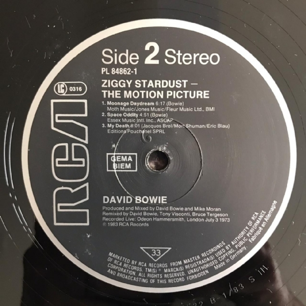 Disco de vinil usado - David Bowie - Ziggy Stardust The Motion Picure LP duplo IMG-1576523