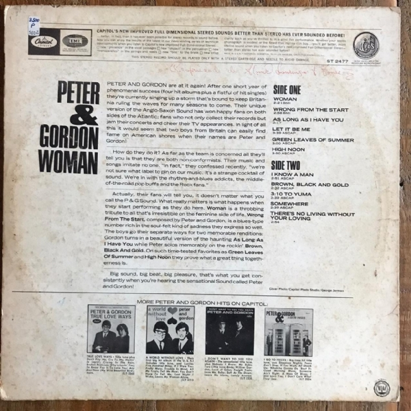 Disco de vinil usado - Peter & Gordon - Woman Lp IMG-1712018