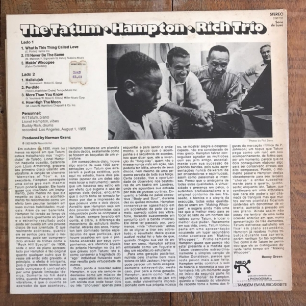 Disco de vinil usado - Tatum, Hampton & Rich Trio - The Tatum - Hampton - Rich Trio Lp IMG-1714521