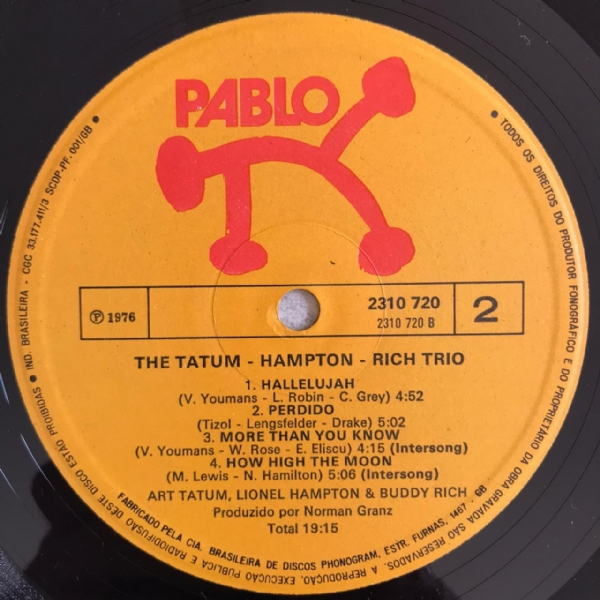 Disco de vinil usado - Tatum, Hampton & Rich Trio - The Tatum - Hampton - Rich Trio Lp IMG-1714522