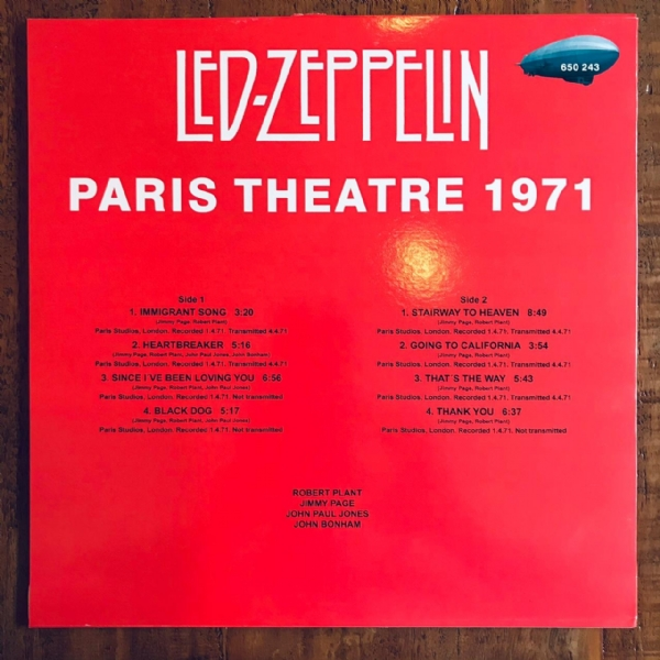 Disco de vinil usado - Led Zeppelin - Paris Theatre 1971 Lp IMG-1856484