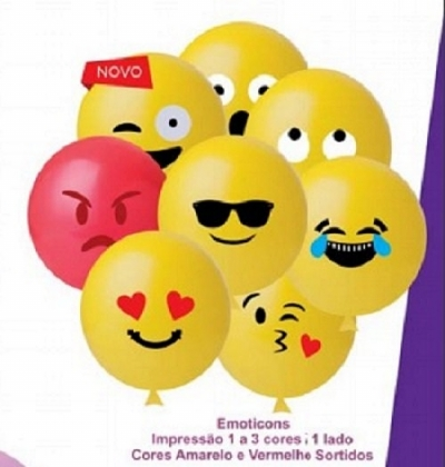 BALAO 11 EMOTICONS HAPPY DAY 25 UN BEXIGA