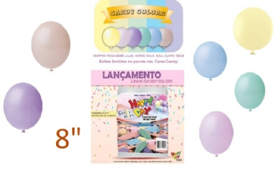 BALÃO 8 CANDY COLORS LISO HAPPY DAY 50 un