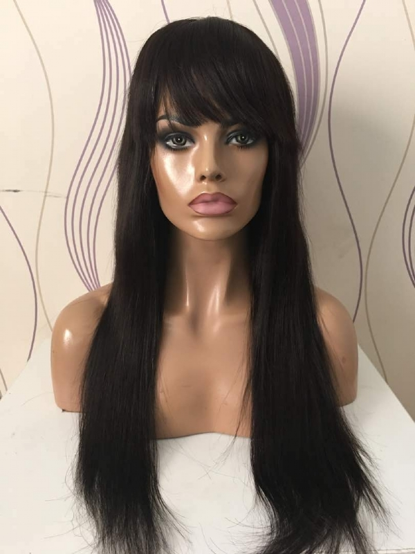 Peruca front lace cabelo humano chinês, 60 cm, com franja IMG-1750979