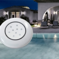 LUMINÁRIA PARA PISCINA 125MM 9W, CORES DO CORPO: TRANSPARENTE, BRANCO OU AZUL, CORES DO LED: RGB,  AZUL,3000K OU 6500K